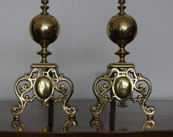 Antique Pair of Brass and Cast Iron Fireplace Andirons 13''