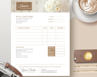 Invoice Template for Photographer, Photography Invoice Receipt Form in MS Word and Adobe Photoshop - INSTANT DOWNLOAD - IRF001