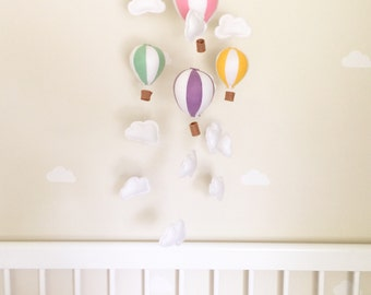 Baby Nursery Hot Air Balloon Mobile, Cot Mobile, Crib Mobile, Cloud Mobile, Baby Mobile, Girl Mobile, Hot Air Balloon, Nursery Mobile Girl