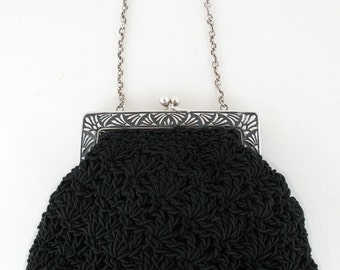 Hand Crocheted Purse With Sterling Silver Frame - Style 10