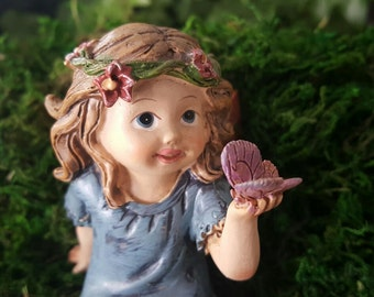 Miniature Baby Girl Fairy with Butterfly