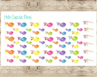 Cute Colorful Birds Planner Stickers