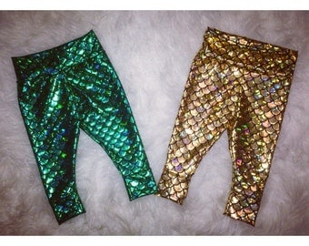 MERMAID LEGGINGS; baby mermaid leggings, mermaid scale, green mermaid pants