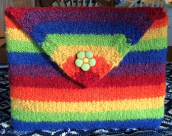 Rainbow Colored Hand Felted Clutch Purse or iPad/Tablet Case