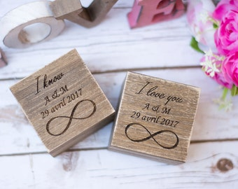 Wedding Ring Box His Hers Ring Box Bearer Rustic wooden Ring Boxes Set of 2 Infinity wedding Ring Pillow