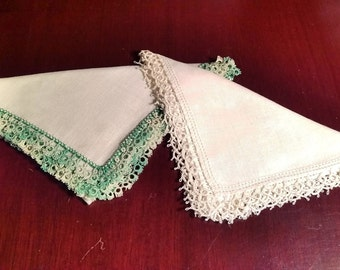 Tatted Green and White Edged Linen Handkerchiefs from 1950s