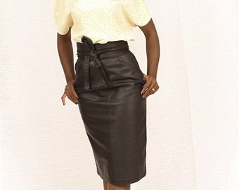 Leather skirt black retro vintage /so glamour