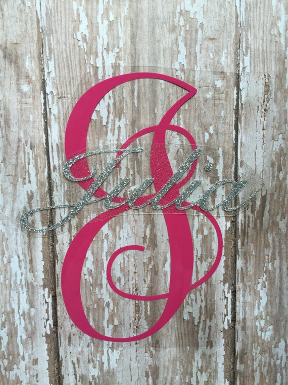 Name with monogram letter iron on decal diy baby onesie diy for Diy iron on letters for clothing