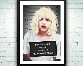 Courtney Love Poster Illustration Art Print Police Mugshot