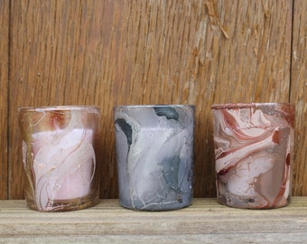 Marbled Glass Votive Candle Holder, Painted Glass, Metallic Votives, Swirled Votives