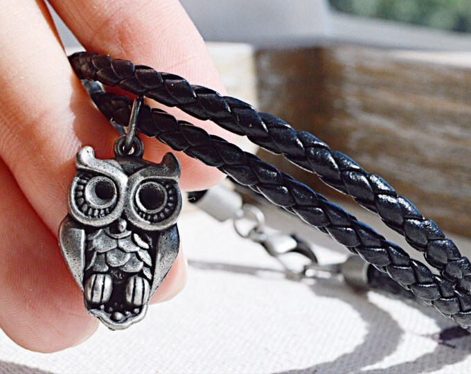 Black Leather Necklace With Silver Toned Owl Charm, Boho Owl Necklace, Owl Choker, Leather Owl Necklace, Owl Jewelry, Owl Charm, Love Owl