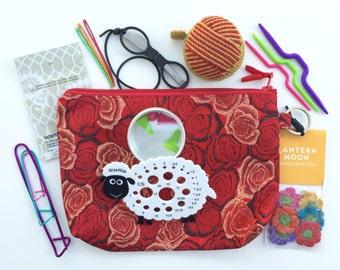 Knitting Notions Kit, HiyaHiya Accessory Case, Black Needlepoint SlipNSnip Scissors Lantern Moon Yarn Ball Tape Measure, Stitch Markers 11PC