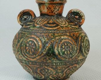 jasba VASE ethno archaic tribal tiki aztec design best mid century pottery no.1