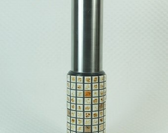 danish modern 1960's brutalist VASE stainless steel and mosaic