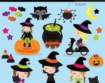 SALE Halloween Witch clipart, Halloween clipart, Cute Witch clipart, Halloween Girls clipart, Halloween, Commercial License Included