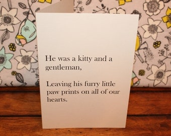 Pet loss card - He was a kitty and a gentleman. - pet sympathy, pet loss