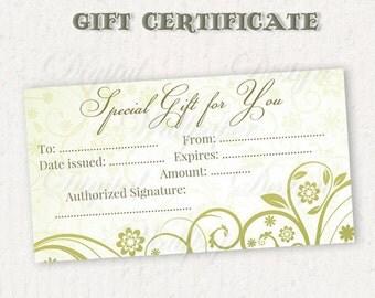 Gift Certificate Printable,Gift Card,Printable Gift Certificate,Gift Certificate,Digital Gift Certificate,Green Floral Gift Certificate