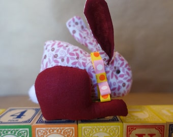 Stuffed Bunny in Pink Floral Fabric