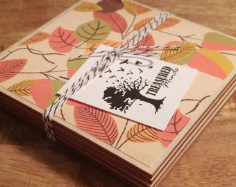 Fall Leaves and Acorns Wooden Coaster Set
