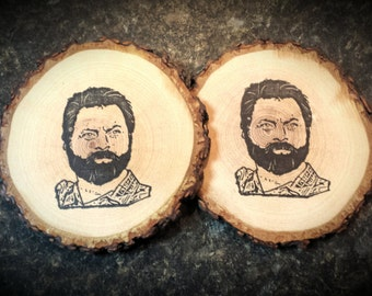 Zach Galifianakis Rustic Natural Wood Coaster Set of 2