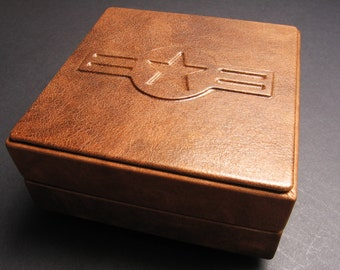 SALE 20%OFF,Personalized US Air Force Handmade leather military medal box, military medal holder, medal box, military coin holder