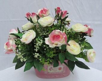 Dusty Pink  & Cream Roses and Cream Ranunulus Floral Arrangement: Pink roses/Cream Ranunulus/Baby's Breath/Silk/Faux/Artificial Flowers