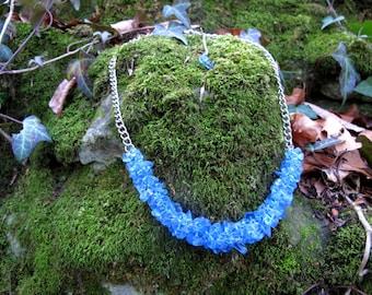 Blue necklace, Crystal necklace, Topaz necklace, Natural stones necklace