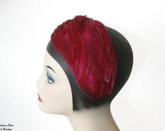 Vintage Fuschia Feathered Headband/ Hat 1960's