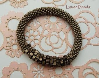 Anthracite/ Dark Grey Crochet Beaded Bracelet with Cubic Beads
