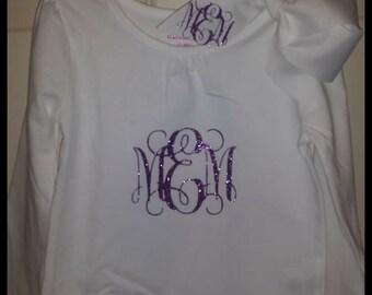 Monogrammed Glitter Vinyl initials shirt with matching bow