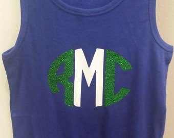 Girls tank with monogram vinyl initials