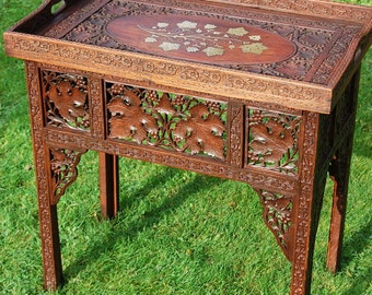 Anglo Indian Hardwood Carved Tray Table