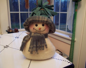 Handmade Stuffed Fabric Snowman with Weighted Bottom