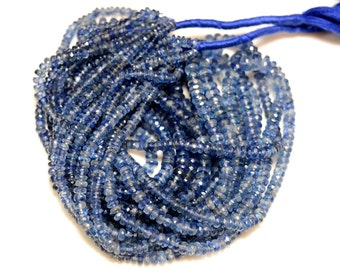 Full Strand, Kyanite Rondelles, Kyanite Faceted Rondelles For Neckles, 3mm To 7mm, 16 inches