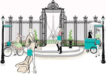 Tiffanys Paris Gate, Tiffany and Co. Paris Limited Edition Print,Tiffany Blue,Unframed Fashion Illustration, Free Shipping Worldwide,A4toA1