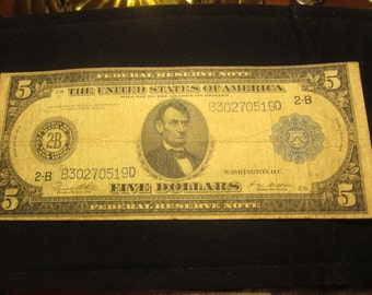 Large Five Dollar Federal Reserve Note of New York F851B