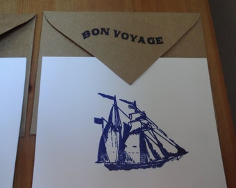 Handmade Sailboat Recycled Stationary - Set of 8