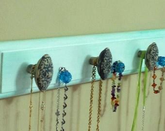 "Jewelry Rack ""Wood""  - Aqua Green/Blue ""Weathered Look"" w/Decorative Knobs"