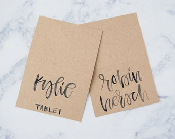 Kraft Paper with Black/Grey Writing Place Cards // Wedding Place Cards, Table Settings, Escprt Cards, Modern Calligraphy