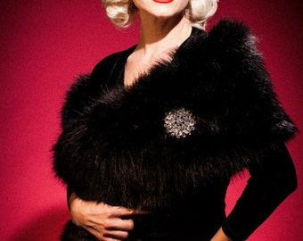 MAE'S MINK in Black Faux Fur - Old Hollywood Vintage Style Fur Wrap Shawl with Large Brooch - Vintage Wedding Burlesque Costume