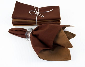 Brown Napkins Set of Four, Bronze Napkins, 18 x 18 Inch Eco Friendly Reversible Two Ply Fabric Napkins in Brown and Bronze