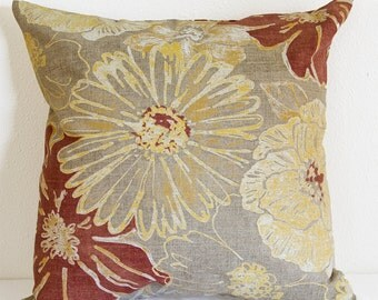 Red Floral Pillow Cover With Invisible Zipper, Red and Gold Floral Pillow Cover with Beige Background, Linen Blend Floral Pillow Cover