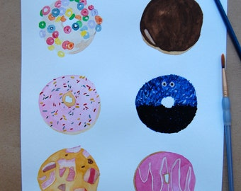 Donut Wall Art, Watercolor, Handmade