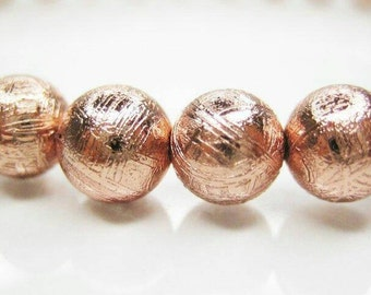 Rare Gibeon Meteorite Bead | One (1) Electroplated |Widmanstatten Rose Gold Plated 6mm Meteorite Bead | Priced Per Bead