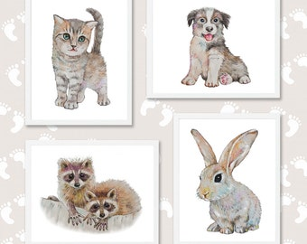 Baby Animal Prints Set of 4 Nursery Wall Art Nursery Prints Pet Portrait Watercolor Painting Cat Dog Bunny Raccoon Boys Girls Room Decor