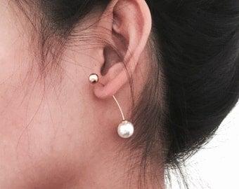 Balanced double back pearl earrings, simple earrings, minimal jewelry