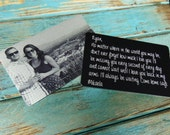 Engraved Picture Wallet Insert - Back Engraving Too - the WOW factor - Him or Her - Laser Engraved - Handwritten Wallet Insert GIFT