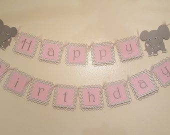 Pink and Gray Elephant Banner for Birthdays or Baby Showers