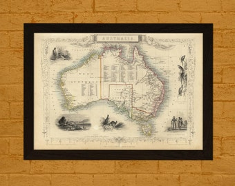 Printed on textured bamboo Art paper - Old Map of Australia 1851 Ancient Map  Art Antique Map Poster Old Map Australia Map Australasia