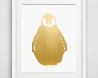 Gold Foil Print, Penguin, Penguin Art, Download, Gold, Penguin Baby, Gold Foil Art, Gold Print, Animal Print, Nursery, Cute, Office Decor
